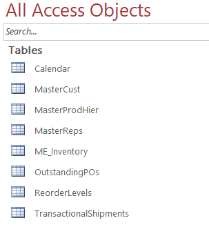 Image from Access Object list with the 8 tables used in our data warehouse (Calendar, Customer Master, Product Master, Sales Rep Master, Month End Inventory, Month End Shipments, Outstanding POs and Reorder Levels.