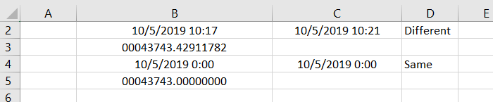 Excel version showing how applications reflect date and time with time as decimal part of numeric