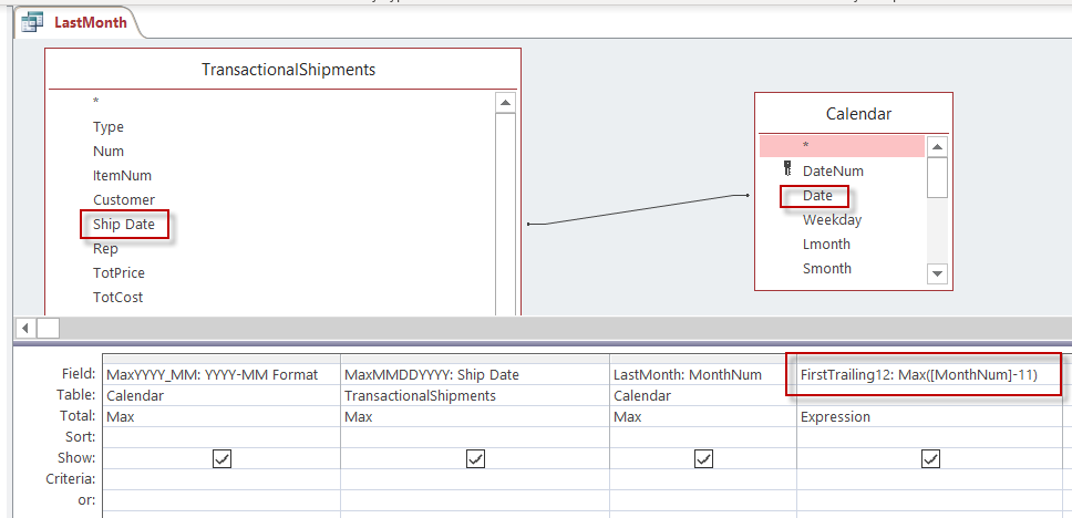 LastMonth query design using Access query design screen