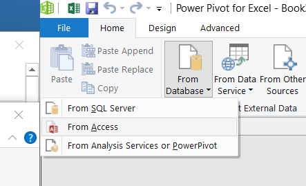Building a Power Pivot Excel file using Access tables and queries Step #1