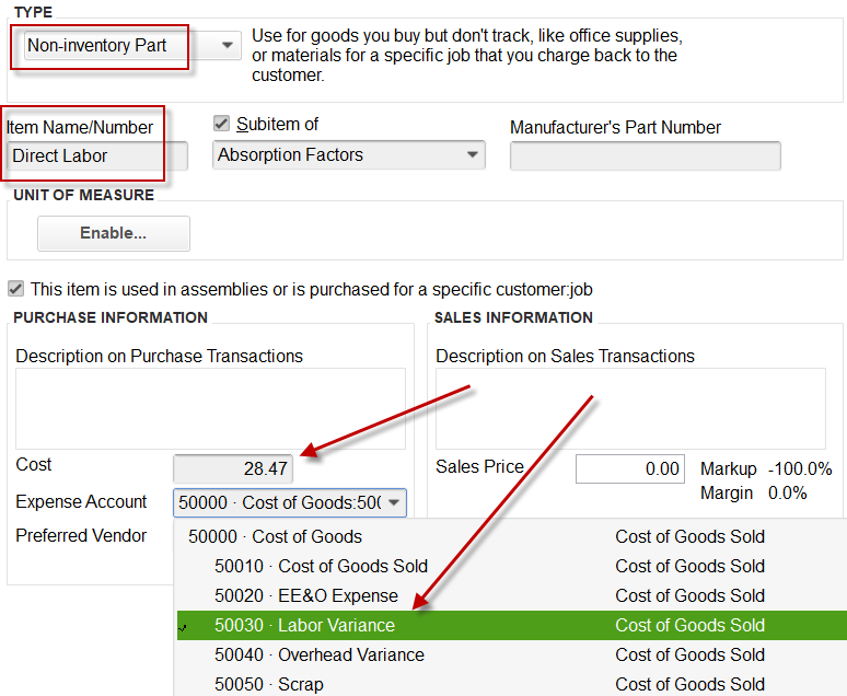 Display of Labor Absorption factor in QuickBooks, that is attached to Labor Variance account on P&L.