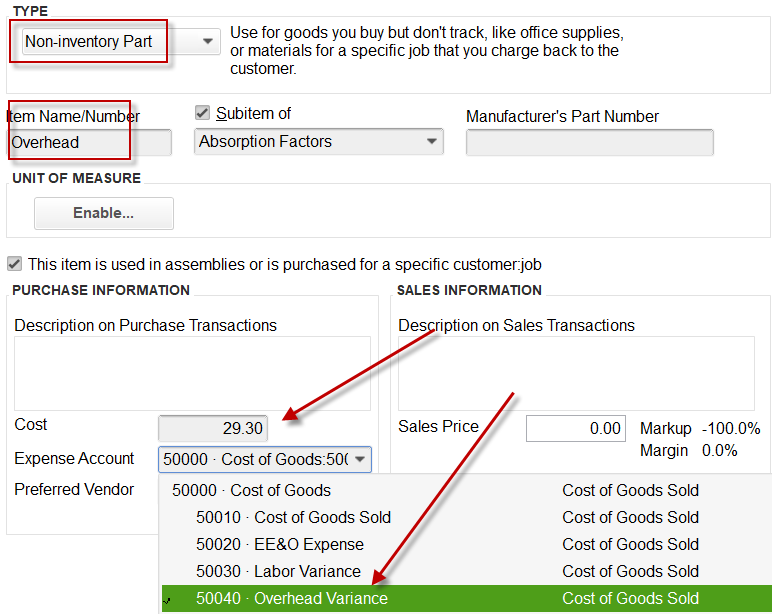 Display of Overhead Absorption factor in QuickBooks, that is attached to Overhead Variance account on P&L.