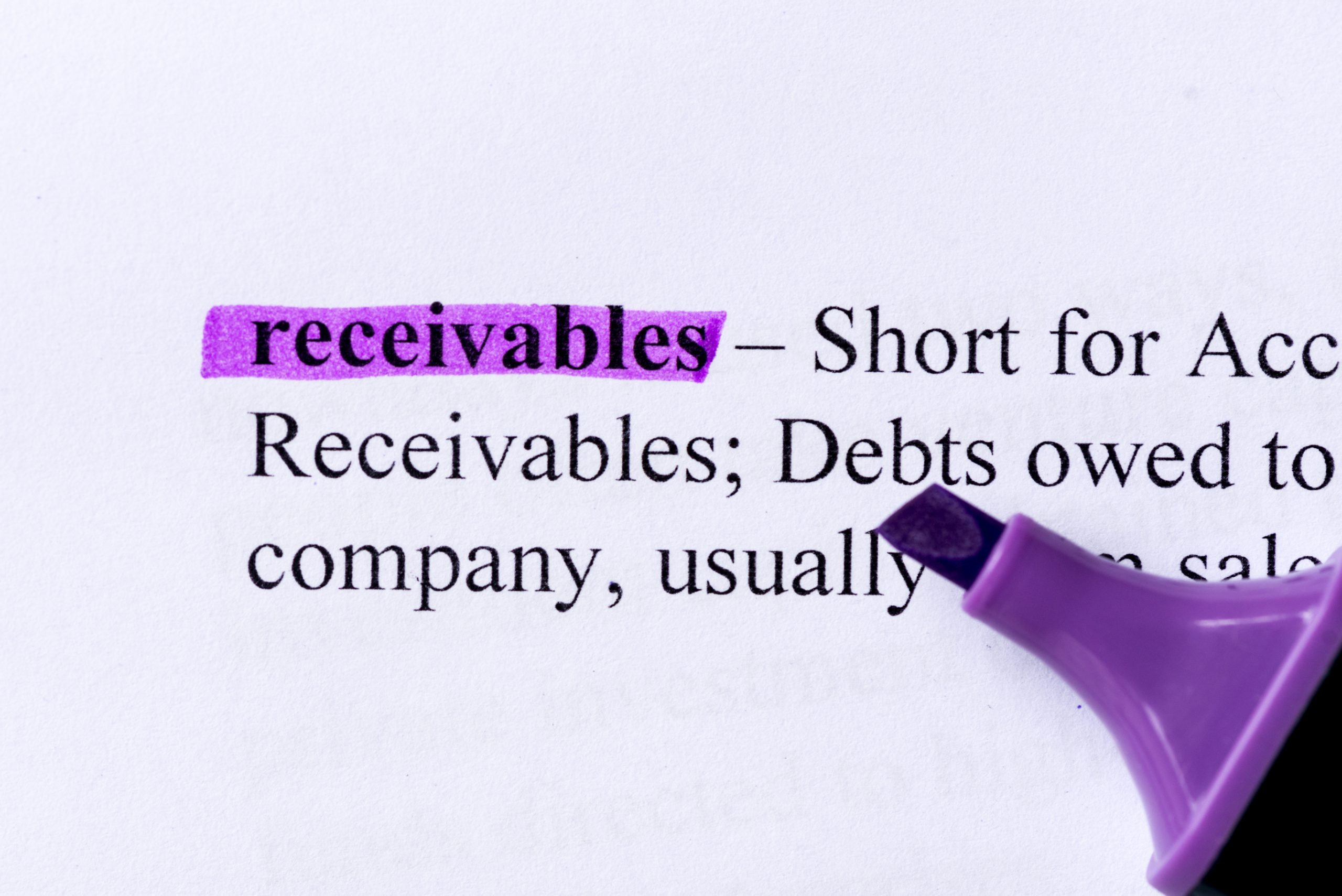 Display of Receivables definition in purple highlighter